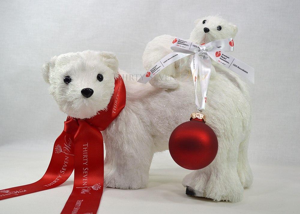 Cinta impresa personalizada con el logotipo de la empresa para decoraciones navideñas, regalos y perchas para adornos