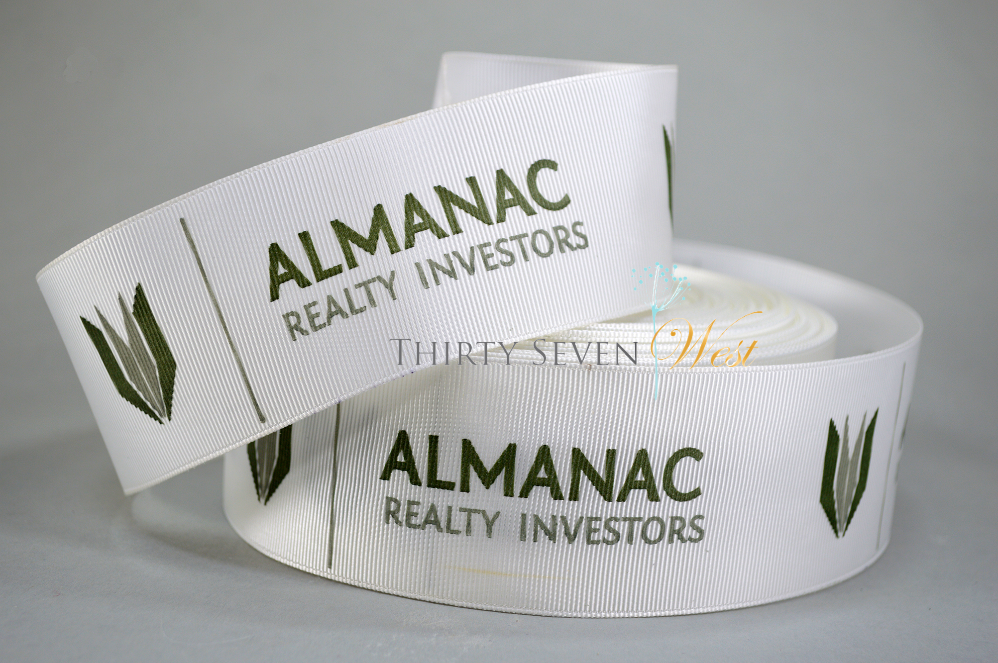 Grosgrain Logo Ribbon, Custom Logo Ribbon, Branded Ribbon, Custom Ribbon, Two Color Logo Ribbon, Grosgrain Ribbon, Logo Ribbon.