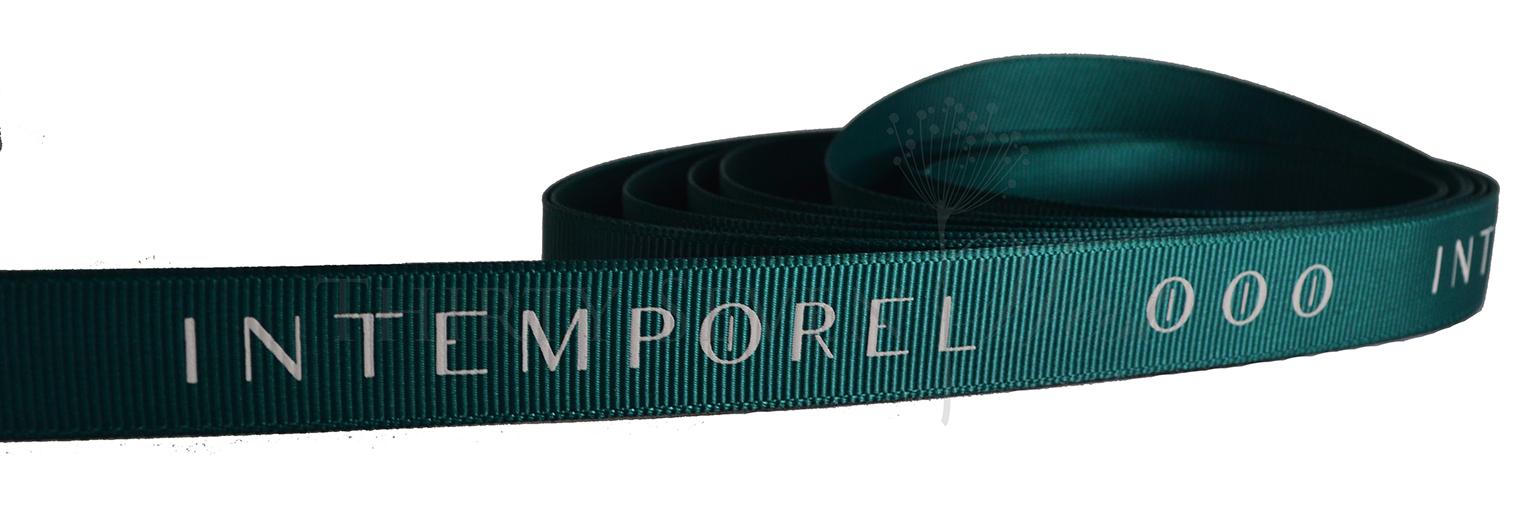 Grosgrain Ribbon, Green Grosgrain Ribbon, Branded Ribbon, Custom Ribbon, Grosgrain Ribbon with Custom Company Lettering, Logo Ribbon, Custom Logo Ribbon, Printed Logo Ribbon.