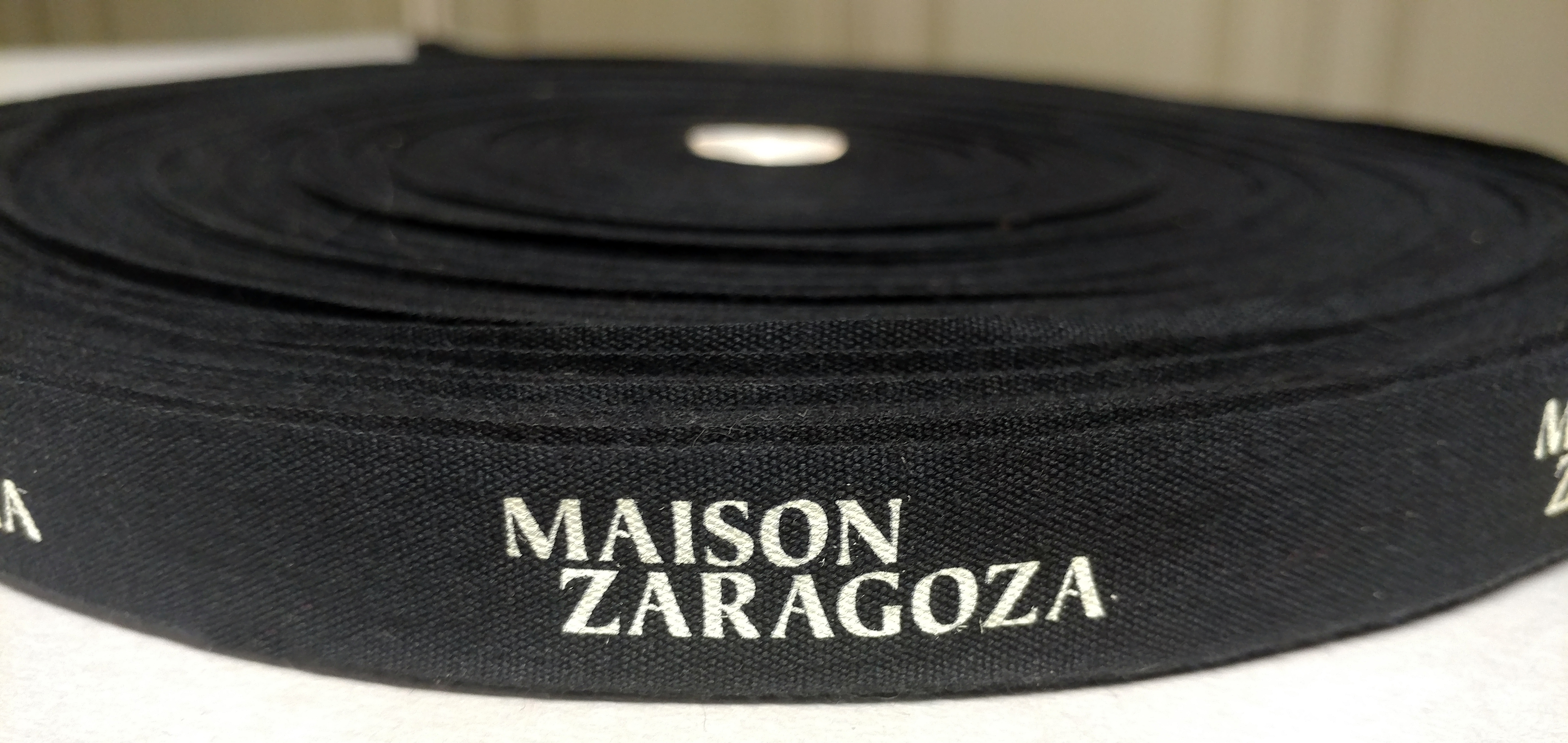 Custom Logo Cotton Ribbon with Pantone Color Print, Two Color Print, and Multi Color Print