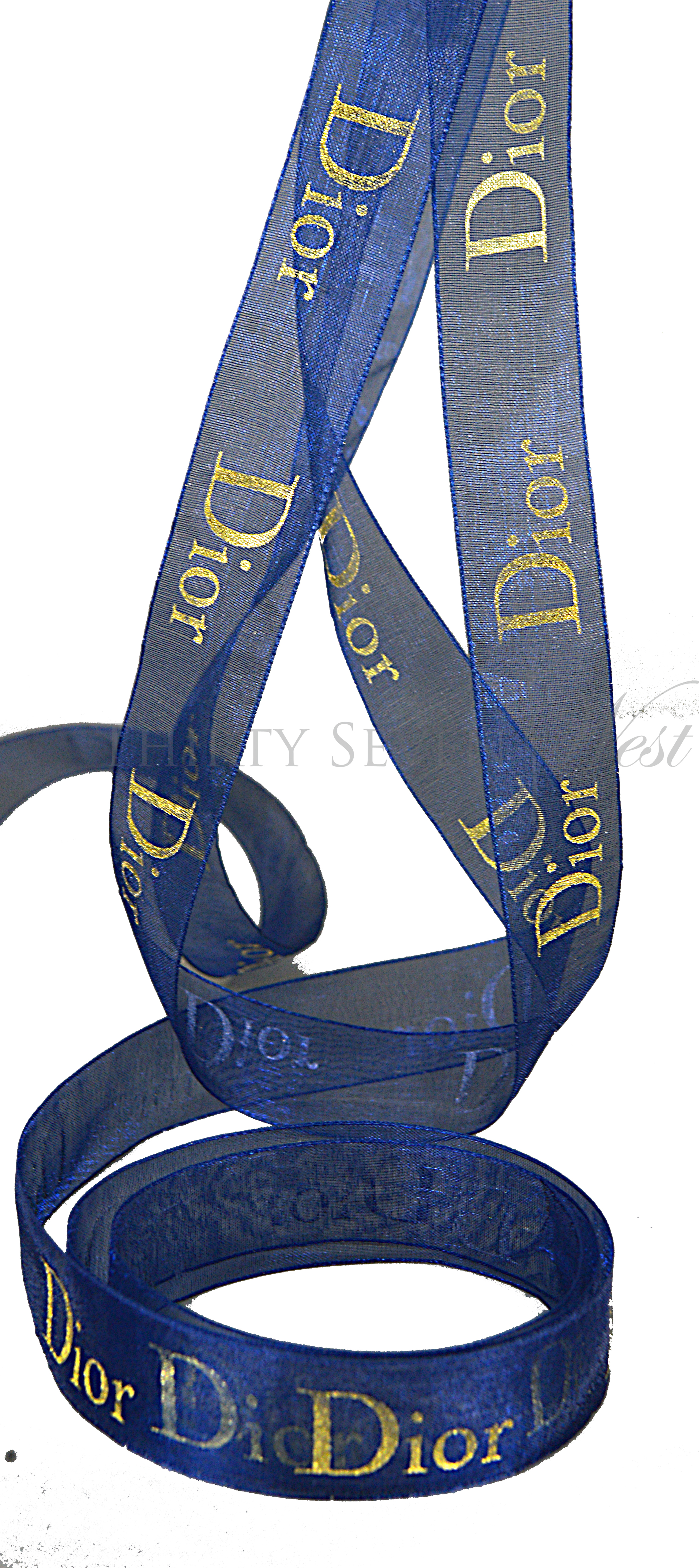 Branded Ribbon, Custom Logo Ribbon, Printed Logo Ribbon, Organza Ribbon, Corporate Ribbon,  Custom Ribbon Printing, Blue Organza Ribbon, Metallic Gold Print on Ribbon