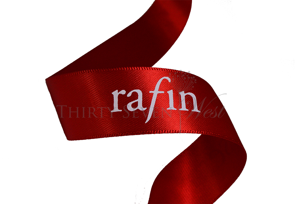 Custom Logo Satin Ribbon, Permanent White Print, Red Satin Ribbon, Custom Branding Ribbon, Durable White Print