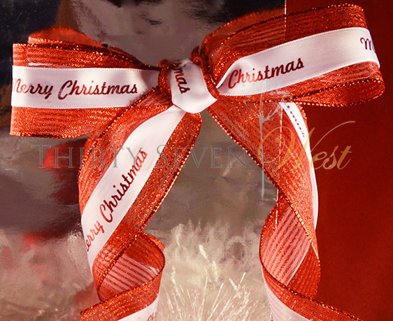 Wire edge ribbon to give logo ribbon nice shape for bow. Custom Printed Ribbon for Logo. Great to simplify gift bags with an impressive statement.