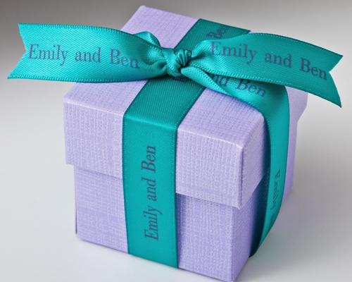 "Blue/Green Personalized Printed 5/8"" Satin Ribbon"