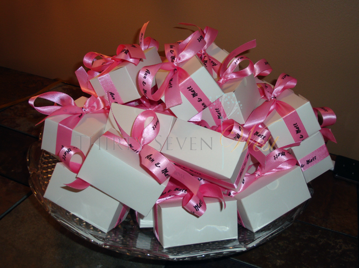 Pink Personalized Ribbon on boxes