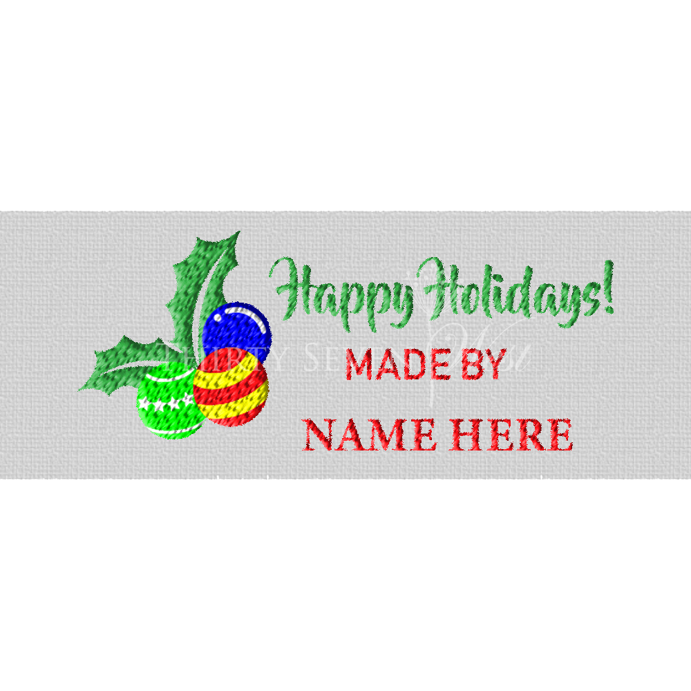 Happy Holidays Woven Clothing Labels