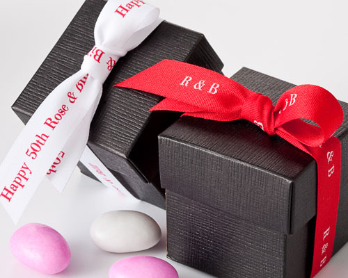 """Red and White 5/8"""" Personalized Textured Ribbon"""