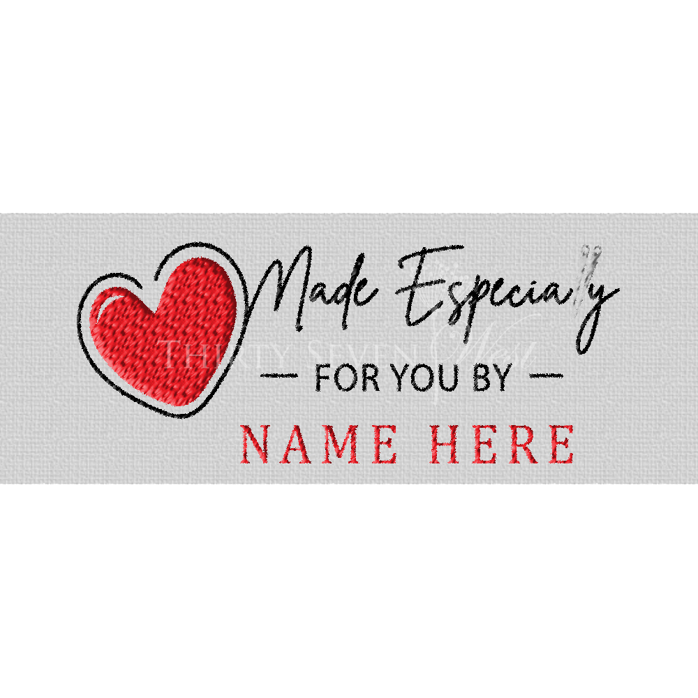 Clothing Label - Made Especially for you by with Heart