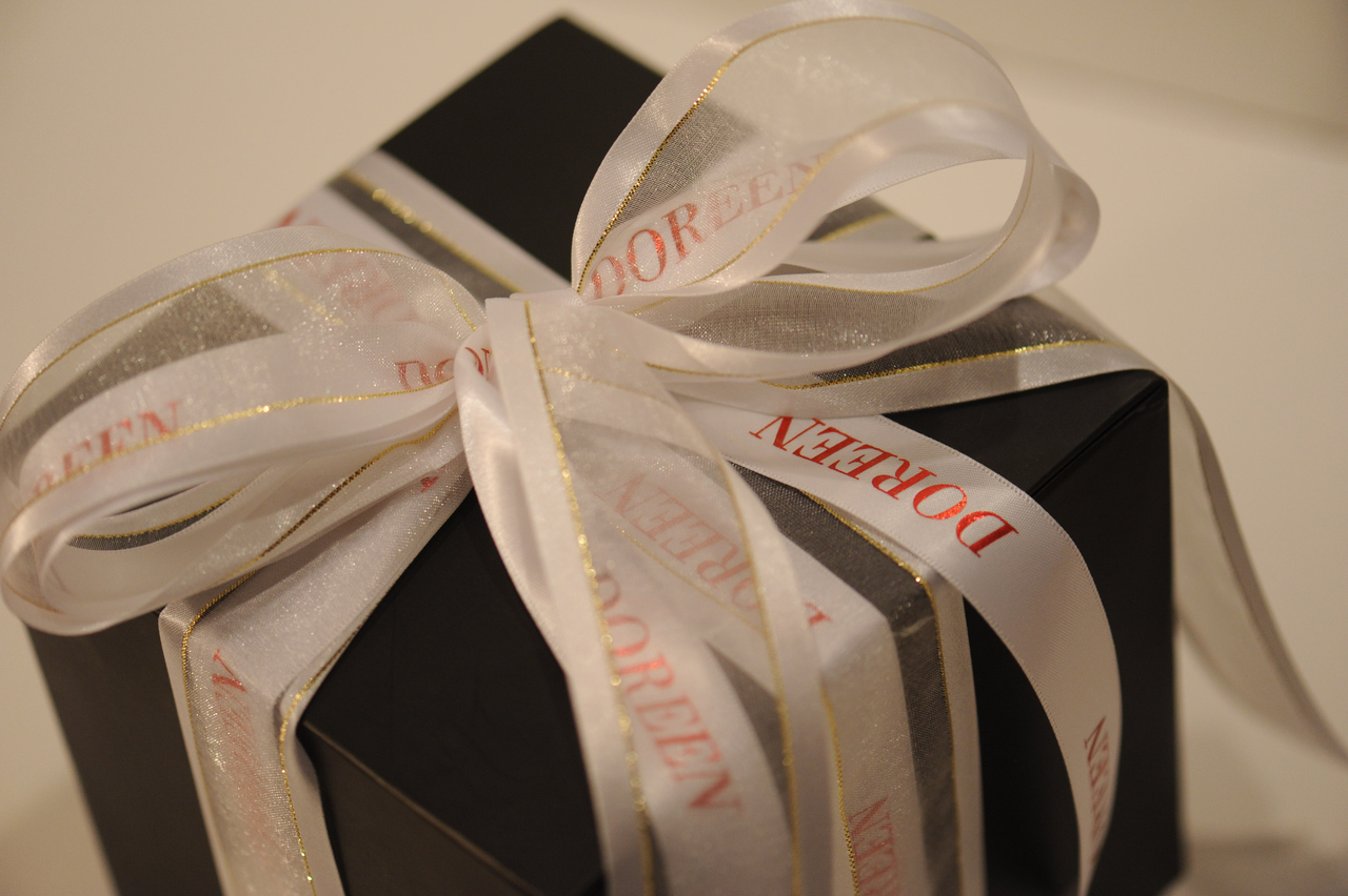 Personalized printed satin ribbon with name for wrapping gifts
