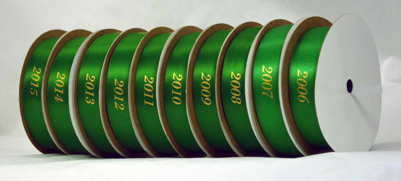 Personalized printed satin ribbon with years