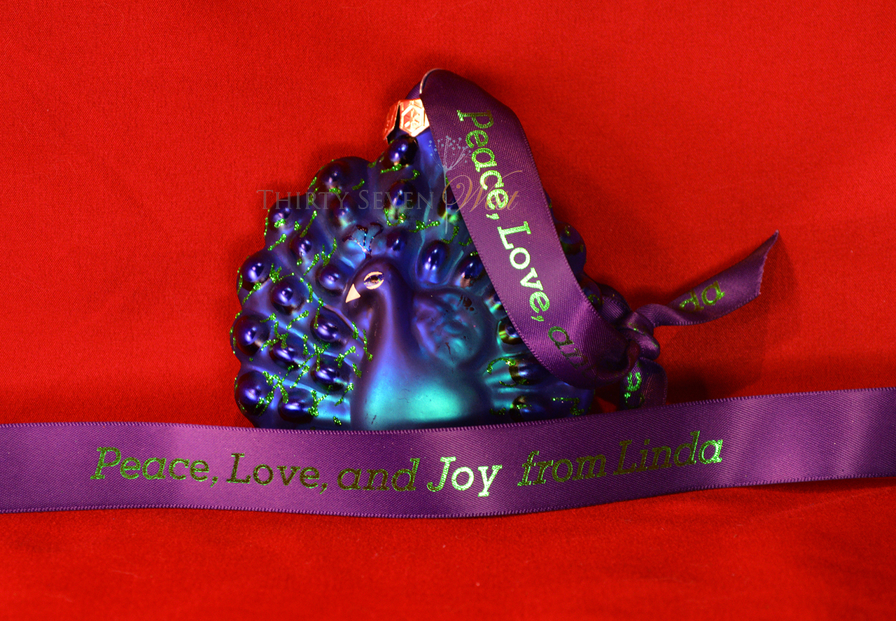 Personalized printed ribbon for ornament holder