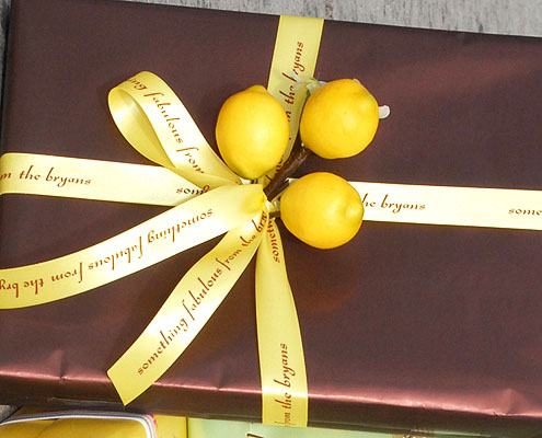 "Yellow 7/8"" Personalized Printed Ribbon for Gift Wrap"