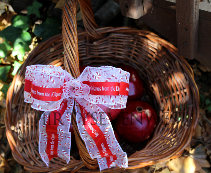 Christmas Gift Basket with Customized Printed Ribbon