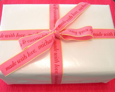 "Personalized Printed 7/8"" Pink Neon Edge Ribbon"