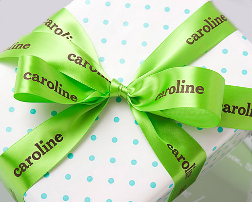 """Personalized 1 1/2"""" Green Satin Ribbon for Gift Wrapping"""