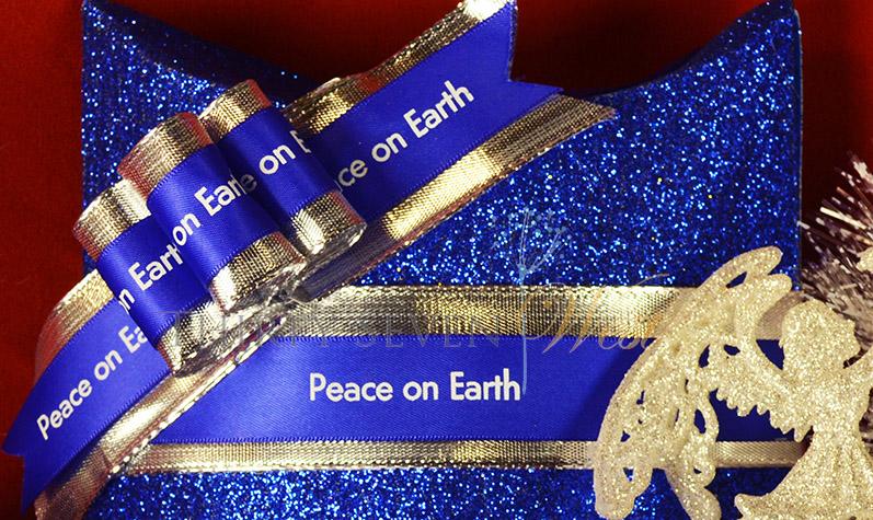 Customized ribbon with message.  Blue Ribbon with Metallic silver writing.  Custom logo ribbon, cobalt blue ribbon, highest quality ribbon, ribbon and bows.