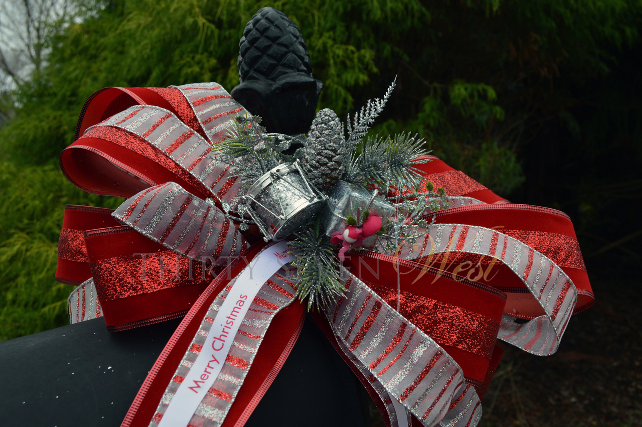 """Personalized 5/8"""" Satin Christmas Ribbon on Mailbox for decoration"""