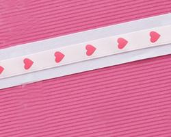 """3/8"""" Pink Satin Heart Ribbon"""