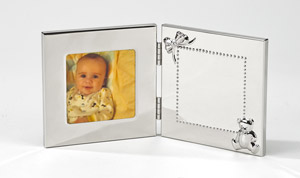 Personalized Polished Hinged Baby Photo Frame accented with Teddy Bear and Bow