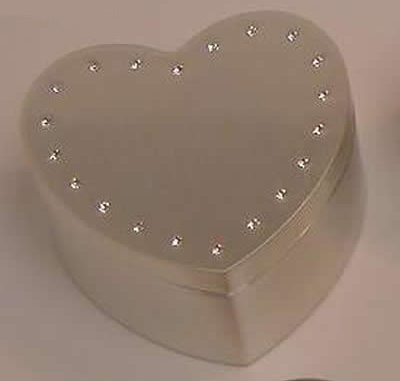 "Personalized 2.5"" Brushed Heart Box with Crystals"