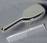 Personalized Nickel Plated Comb and Brush Set