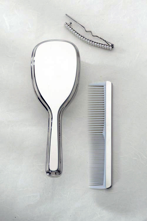 Nickel Plated Comb and Brush for Girls