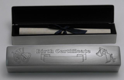 Personalized Birth Certificate Box with Pewter Finish