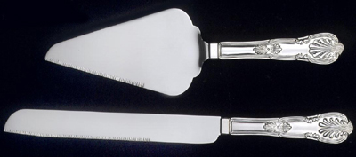 Personalized Antique Cake and Knife Server Set with Stainless Steel Blades