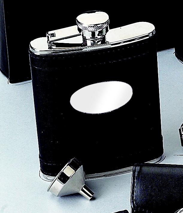 Black Flask with Engraving Plate
