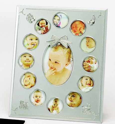 """Personalized Sterling Birth Photo Frame: 12 Mini 2"""" Photo Slots and 1 3.5""""x5"""" Photo Slot"""