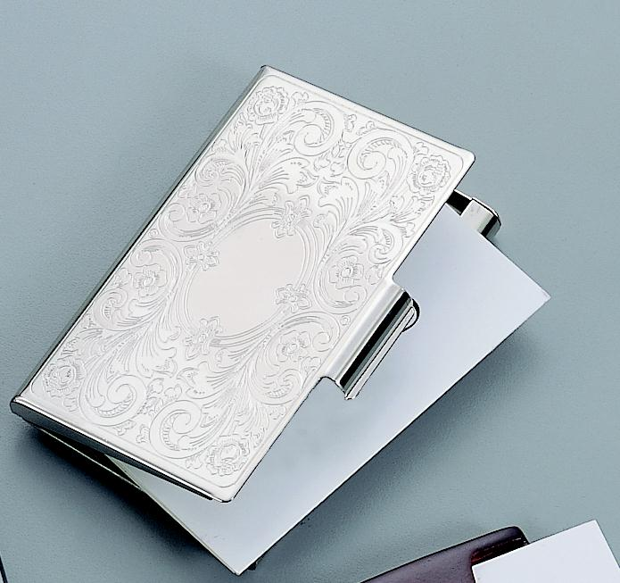 Personalized Nickel Plated Embossed Scroll Business Card Case