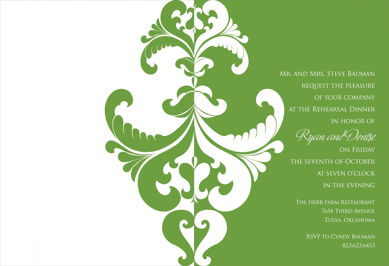 Olive and White Belacour Invitation