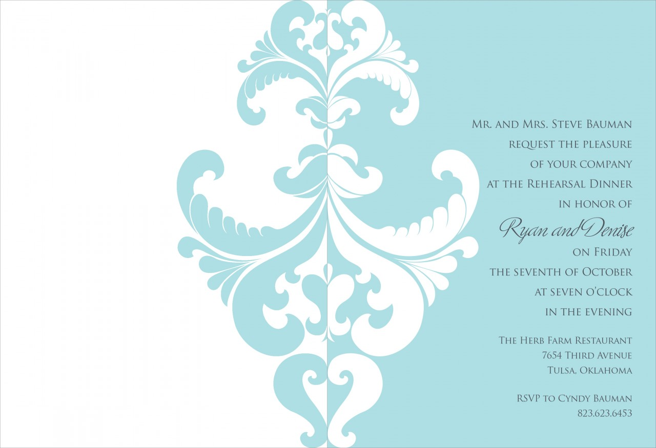 Bali Blue and White Belacour Invitation