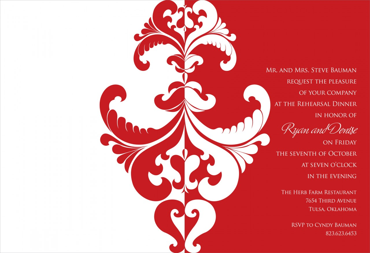 Berry and White Belacour Invitation