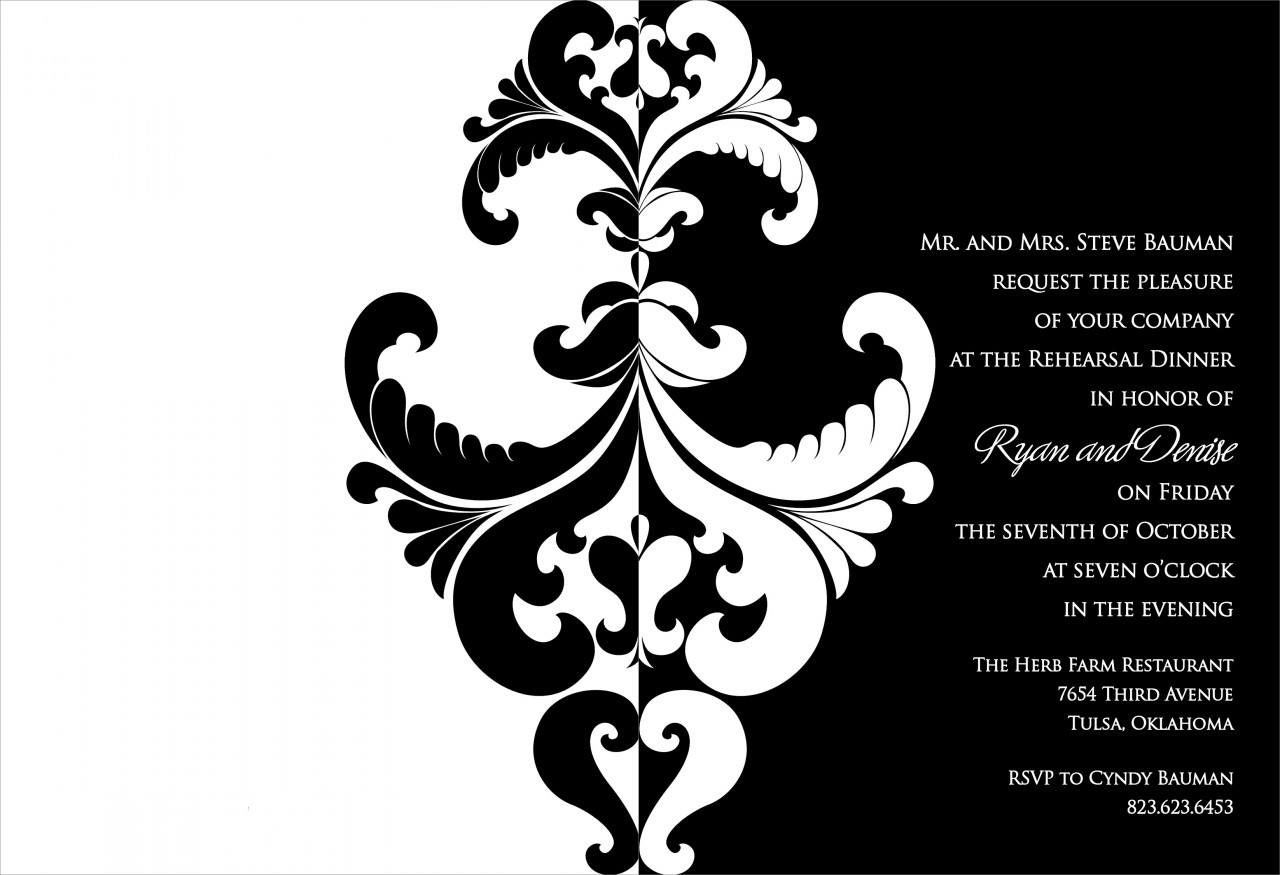 Black and White Belacour Invitation