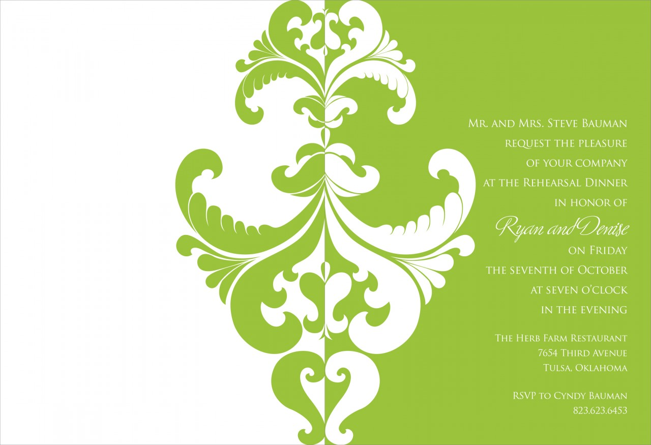 Lime and White Belacour Invitation