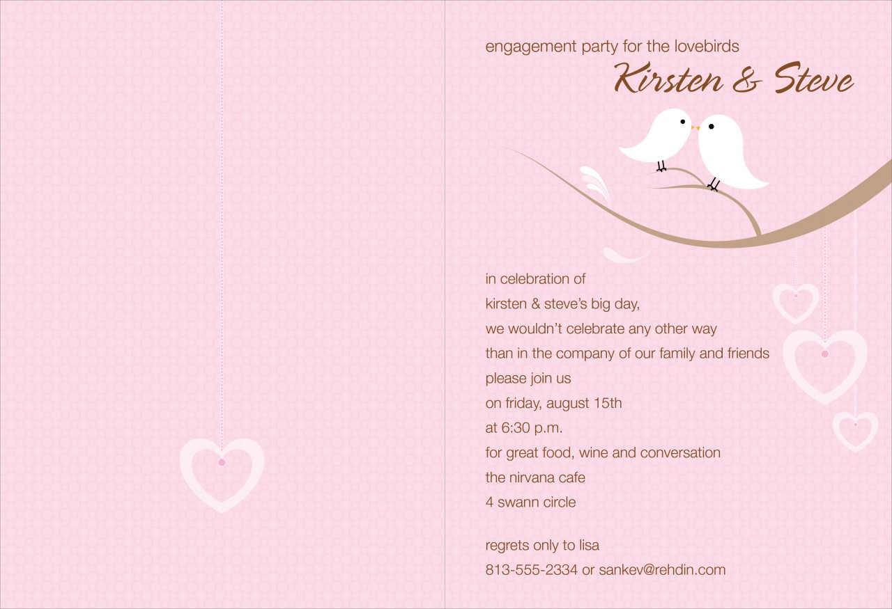 Pink and Cocoa Love Birds Invitation