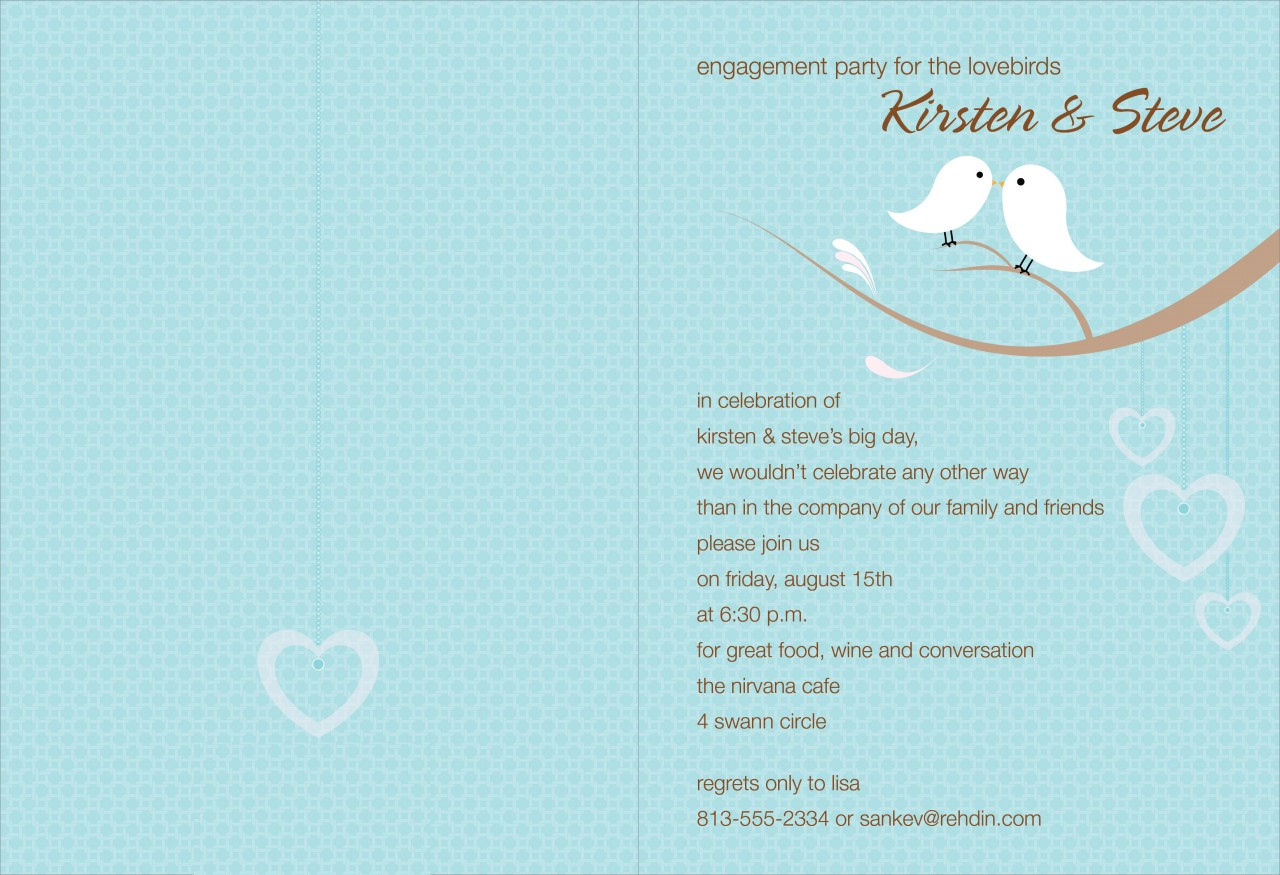 Bali Blue and Cocoa Love Birds Invitation