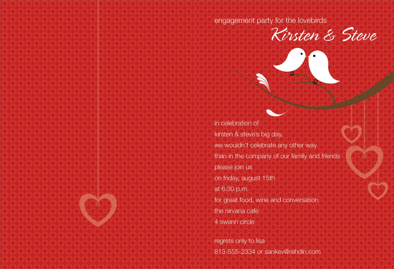 Berry and White Love Birds Invitation