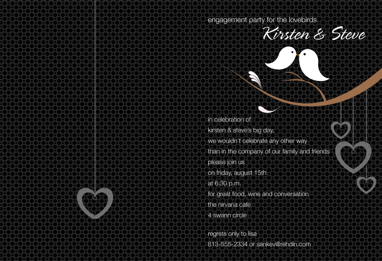 Black and White Love Birds Invitation