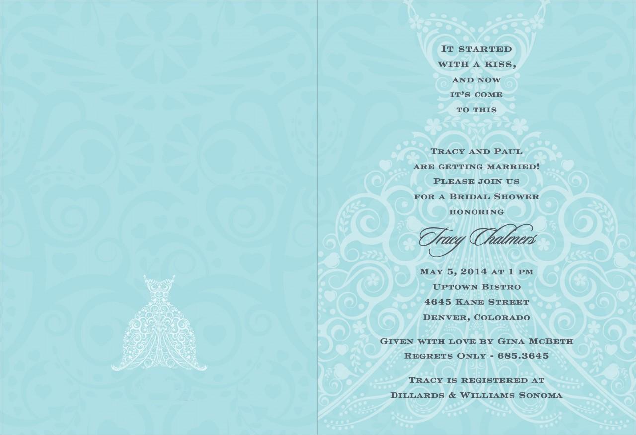 Bali Blue and Charcoal Wedding Dress Invitation