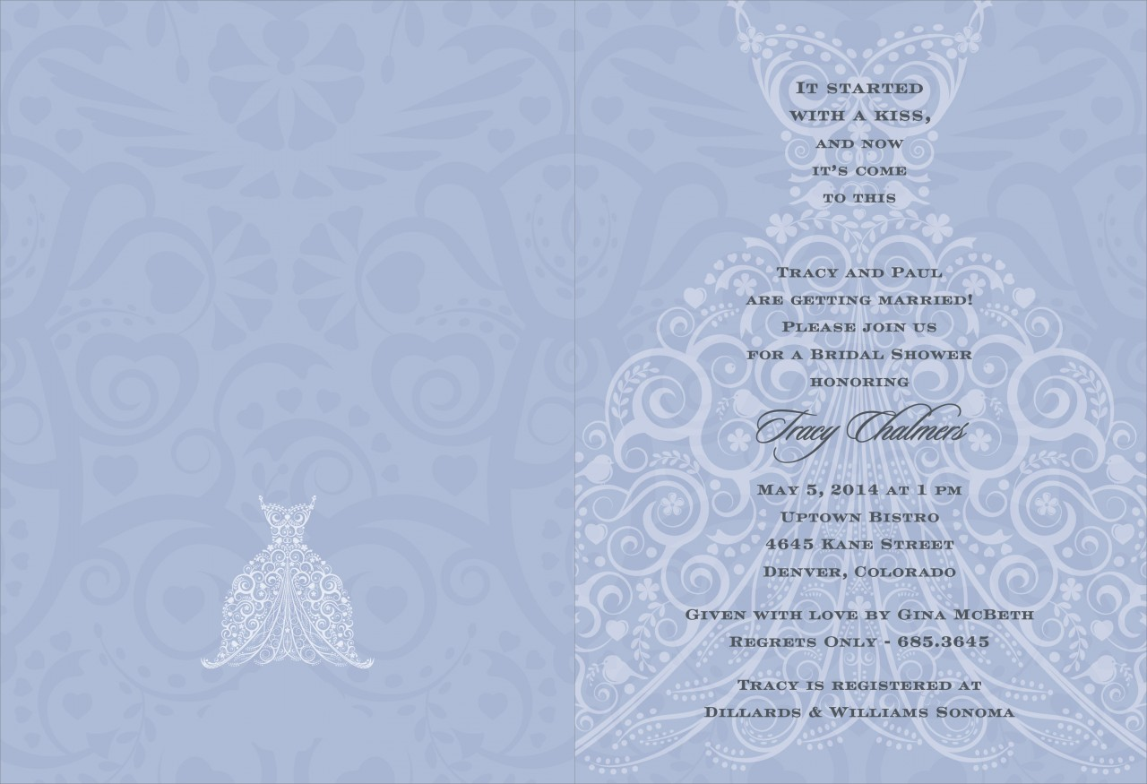Lavender and Charcoal Wedding Dress Invitation