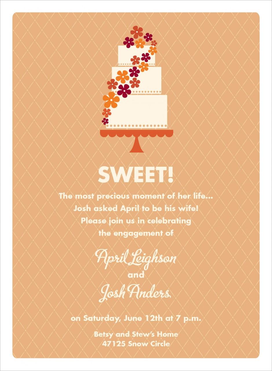 Orange and Cream Floral Cake Invitation
