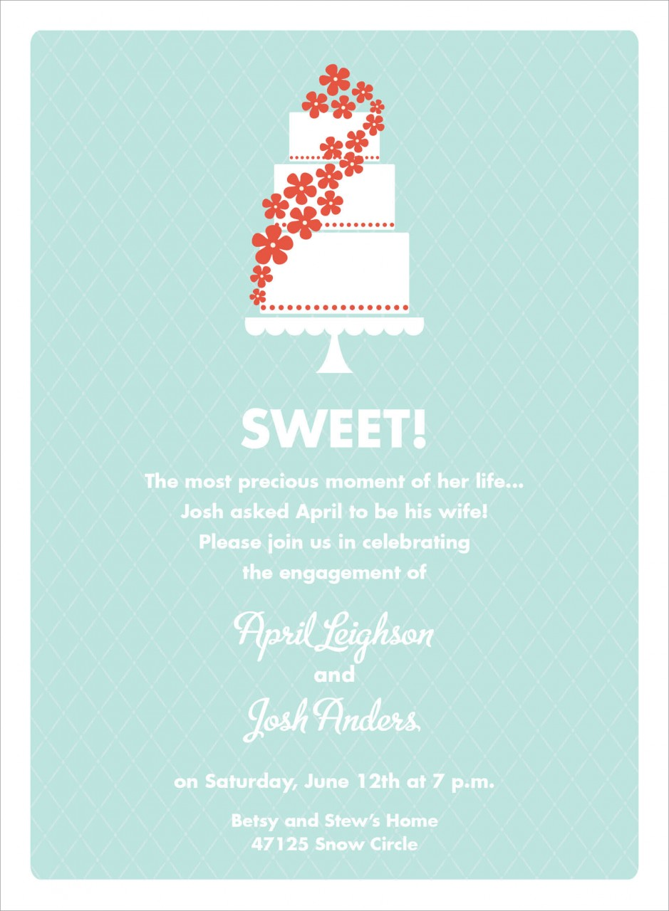 Bali Blue and Red Floral Cake Invitation