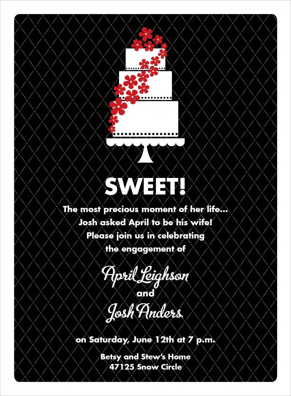 Black and Red Floral Cake Invitation