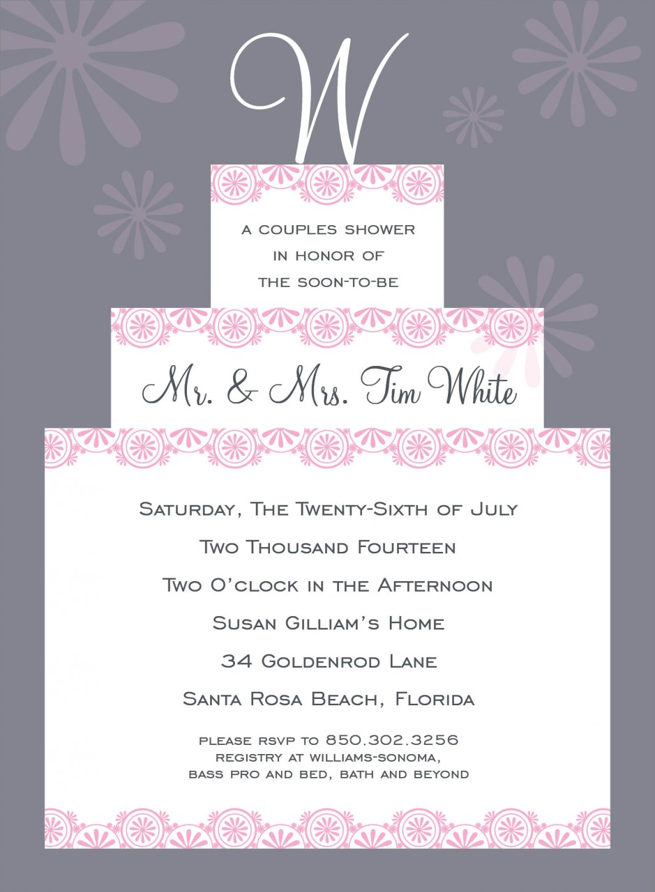 Grey Initial Cake Topper Invitation