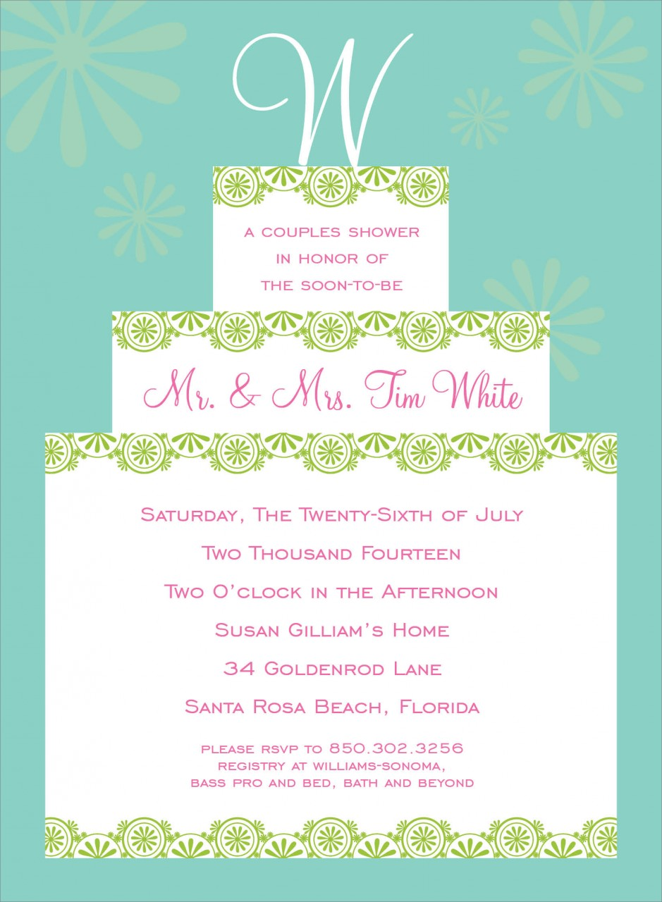 Green Initial Cake Topper Invitation