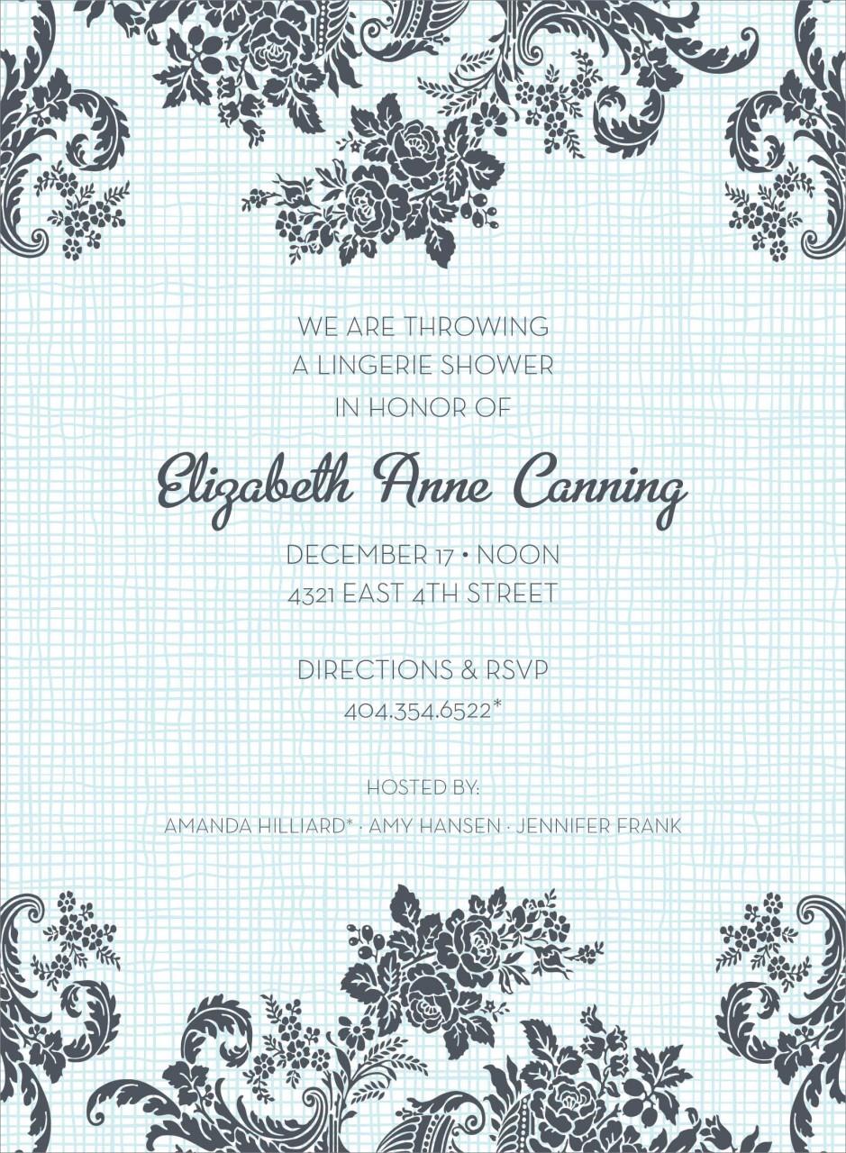 Blue Floral Linen Invitation