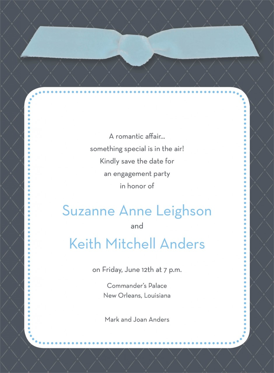Charcoal Quilted Invitation with Blue Ribbon