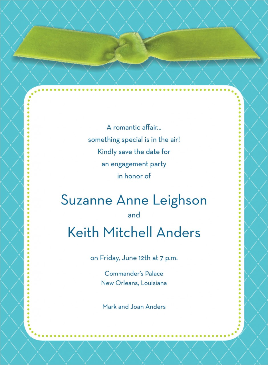 Blue Quilted Invitation with Green Ribbon